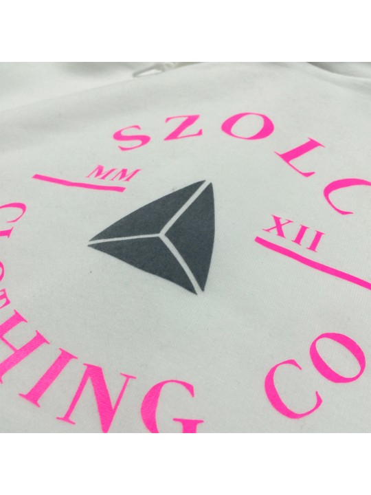 Retro Badge White - Pink Hoodie